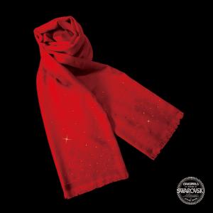 【PEONY】牡丹雅頌 紅色水晶暗花頸巾